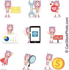 costume., 女, モンスター, ピンク, 特徴, セット, かわいい