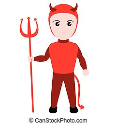 costume., 悪魔, ハロウィーン, 子供