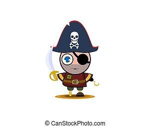 costume., 男の子, ベクトル, 海賊, イラスト