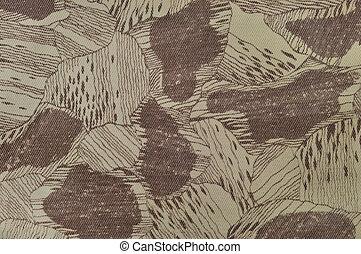 costume, camuflagem, textura, padrão, horizontais, pálido, verde, bronzeado, taupe, marrom, textured, camo, fundo, antigas, envelhecido, resistido, algodão, twill, tecido, campo, trabalho, parka, bege, cáqui, grande, detalhado, macro, closeup