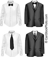 costume noir, et, chemises blanches