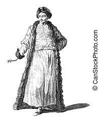 Costume of a gentleman of Wallachia on engraving from the 1700s.
