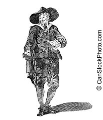 Costume of an oliverian (a supporter of Oliver Cromwell) in 1650 on engraving from the 1700s.