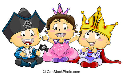 Illustration of Cute Little Kids Wearing Costumes