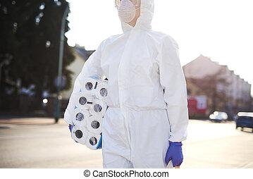 costume protecteur, unrecognizable, quelques-uns, marche, ...