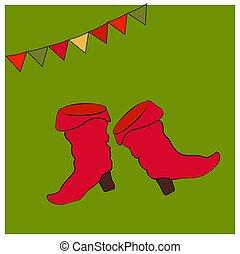 costume., saffian, sapatos, boots., nacional, ou, símbolos, objetos, cartão, russo, heels., feriado, maslenitsa., vermelho, shrovetide