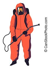Costume with mask and sprayer tube, disinfection service - ...