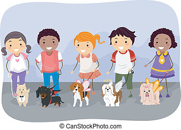 Illustration of Kids Showing off Their Dogs in Their Best Costumes