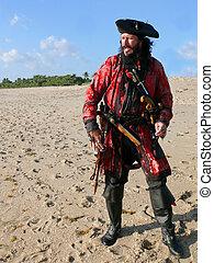 costumed, länge, voll, sandstrand, pirat