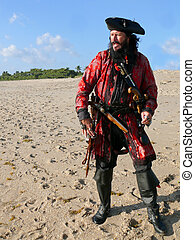 costumed, longueur, entiers, plage, pirate