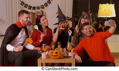 costumes, amis, halloween, selfie, heureux, prendre