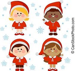 costumes., bambini, natale, illustrazione, gruppo, vettore, diverso, claus, vestito, santa
