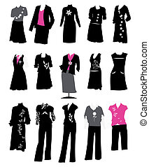 costumes, code, bureau, style, femmes, collection, robe