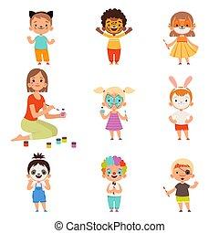 costumes, figure, dessin animé, animator, jouer, gosses,...