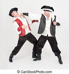 costumes., meninos, dois, fight., pirata