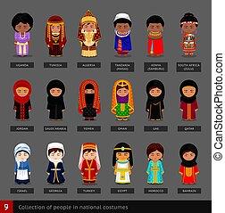costumes., national, mädels