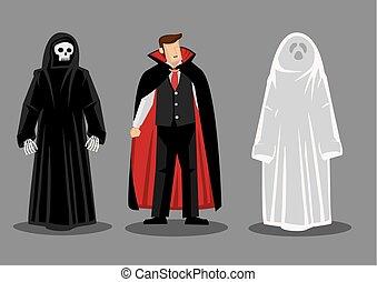 costumi, orrore, cartone animato, halloween, carattere, vettore