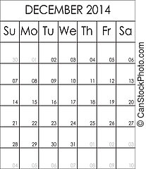 Costumizable Planner Calendar December 2014  big eps file