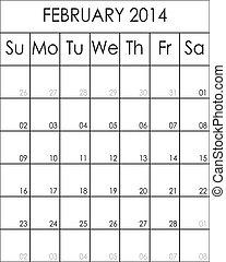 Costumizable Planner Calendar February 2014 big eps file