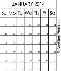 Costumizable Planner Calendar January 2014 big eps file