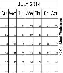 Costumizable Planner Calendar July 2014  big eps file