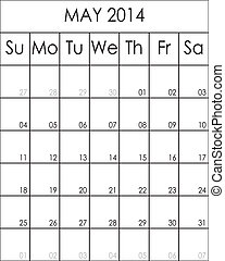 Costumizable Planner Calendar May 2014 big eps file