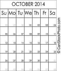 Costumizable Planner Calendar October 2014  big eps file