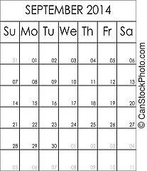Costumizable Planner Calendar September 2014  big eps file