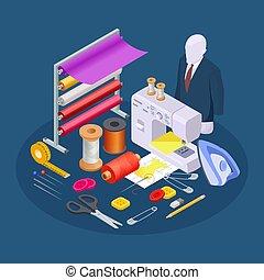 costura, colección, isométrico, taller, industria, textil,...