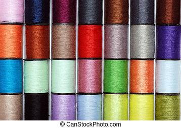 costura, colorido, hilo