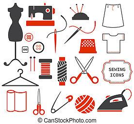 costura, costura, iconos