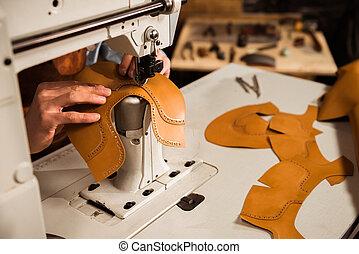 costura, cuero, arriba, partes, artesano, cierre, macho