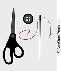 costura fornece, e, ferramentas