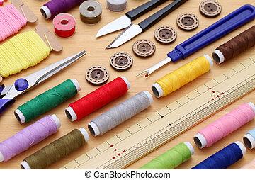 costura, herramientas, sastrería, moda, concepto
