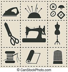 costura, iconos