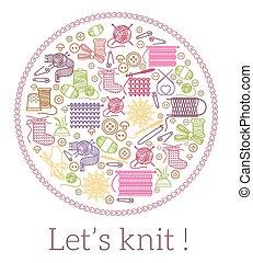 costura, lets, knit., tejido de punto, señal
