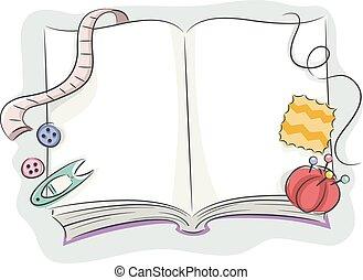 costura, libro, elementos