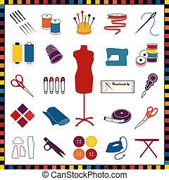 costura, sastrería, iconos, multicolor