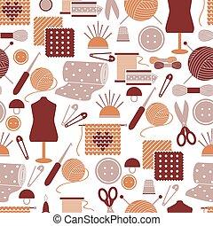 costura, seamless, patrón, iconos