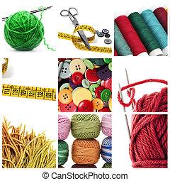 costura, y, tejido de punto, herramientas, collage