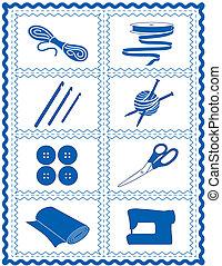 costurando, cosendo, ícones