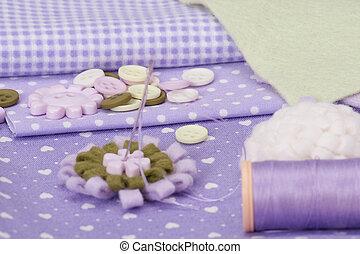 costurando, cosendo, acessórios, kit., arte, passatempo