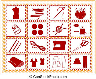 costurando, tricote, arte, cosendo, ícone