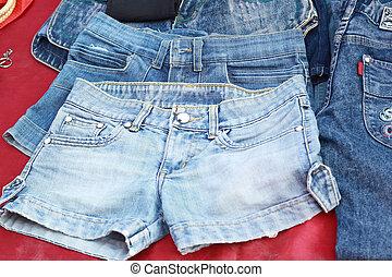 costuras, fundo, vindima, calças brim, textura, lote