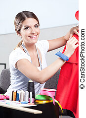 costureira, femininas, retrato