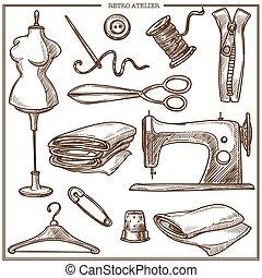 costureira, salão, alfaiate, ícones, atelier, esboço, equipamento, vetorial, retro, ou