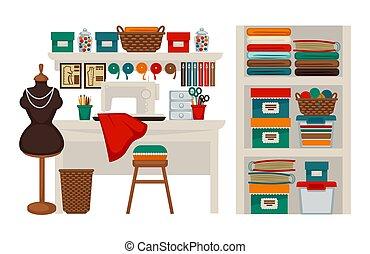 costureira, salão, jogo, alfaiate, atelier, modiste, ícones, apartamento, vetorial, local trabalho, ou