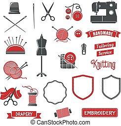 costureira, salão, tricotando, ícones, cosendo, vetorial