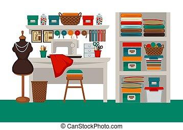 costureira, salão, vetorial, apartamento, modiste, atelier, local trabalho, interior, ou