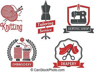 costureira, salão, vetorial, tricotando, ícones, atelier